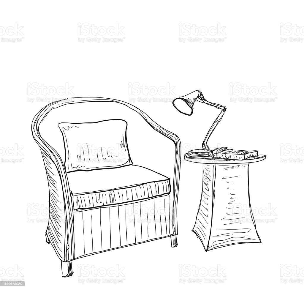 Hand Drawn Room Interior Chair And Lamp Stock Vector Art
