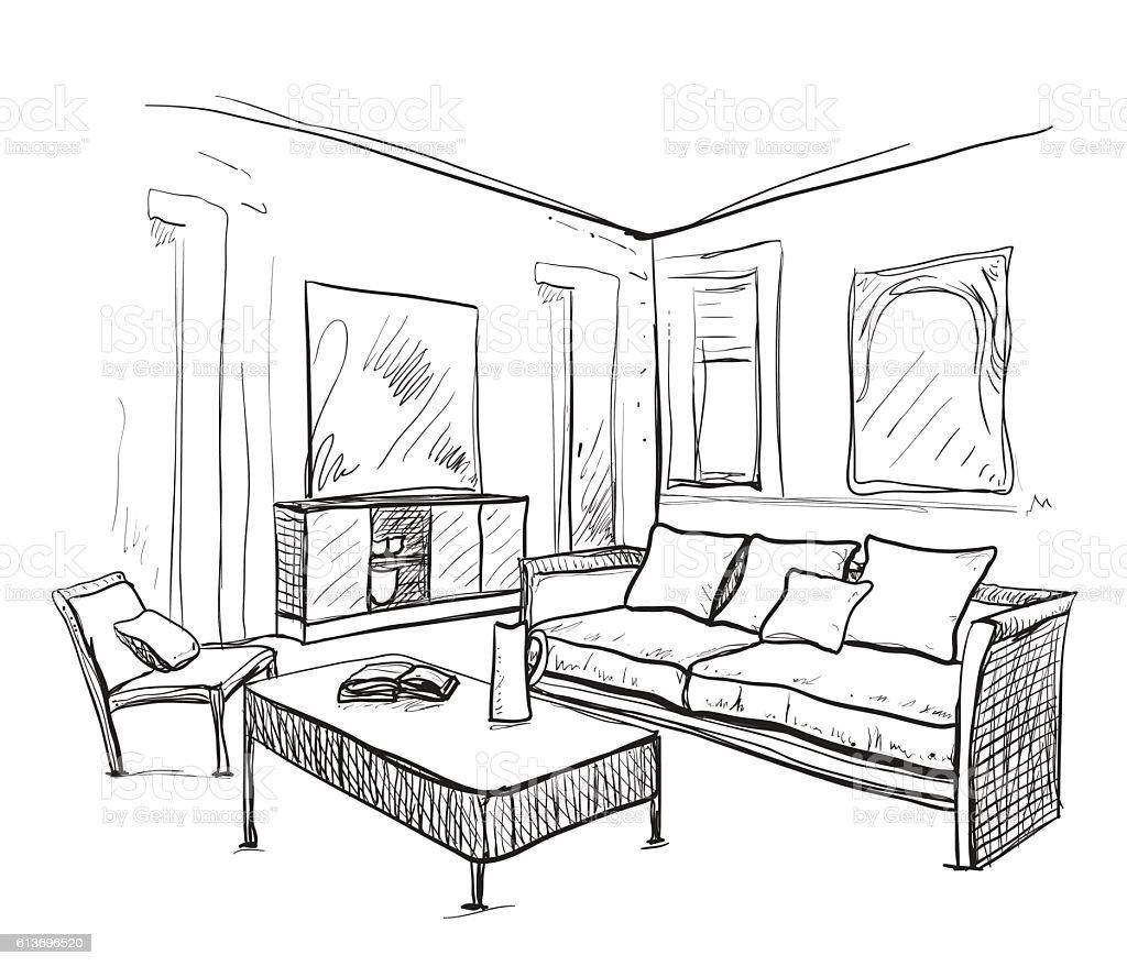Нарисованный от руки номер внутри Мебель эскиз