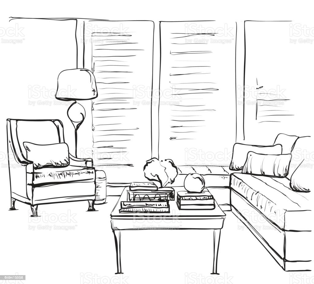 Hand Drawn Room Interior Sketch Chair And Window Stock