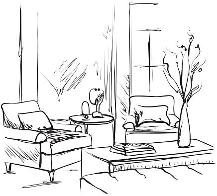 Gezeichneten Raum Innen Handskizze Stuhl Tisch Stock Vektor
