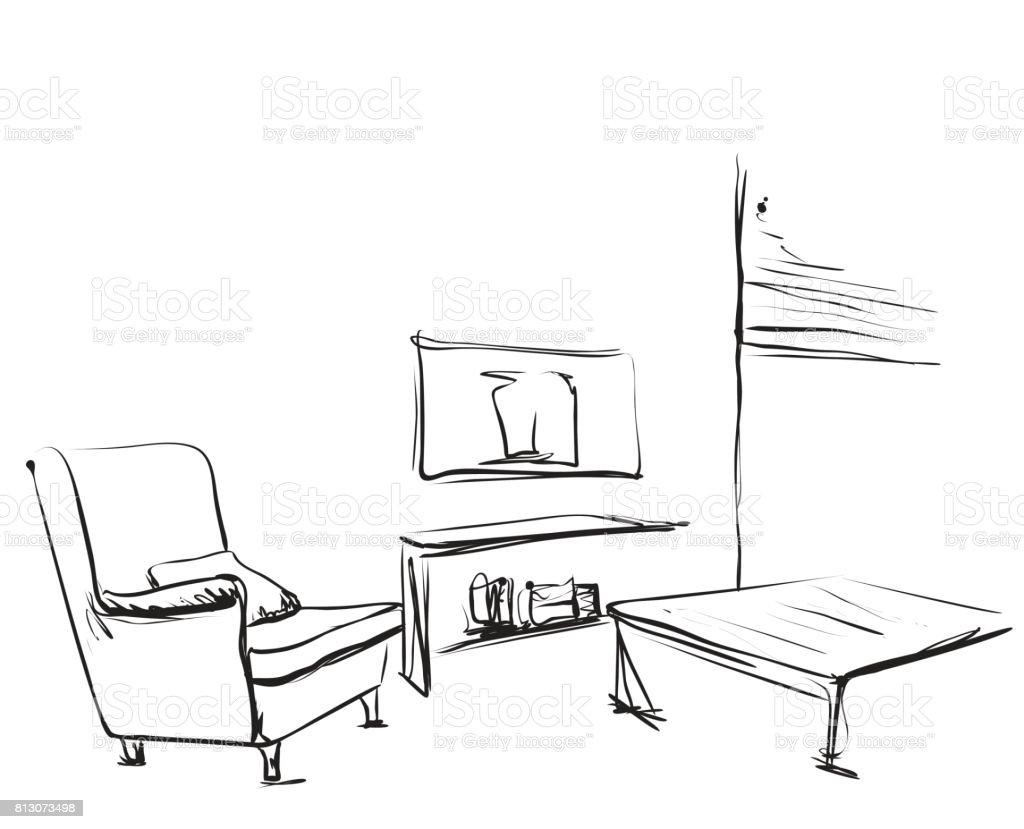 Innen Stock Vektor Raum Und Handskizze Art Tisch Stuhl Gezeichneten sdrQth