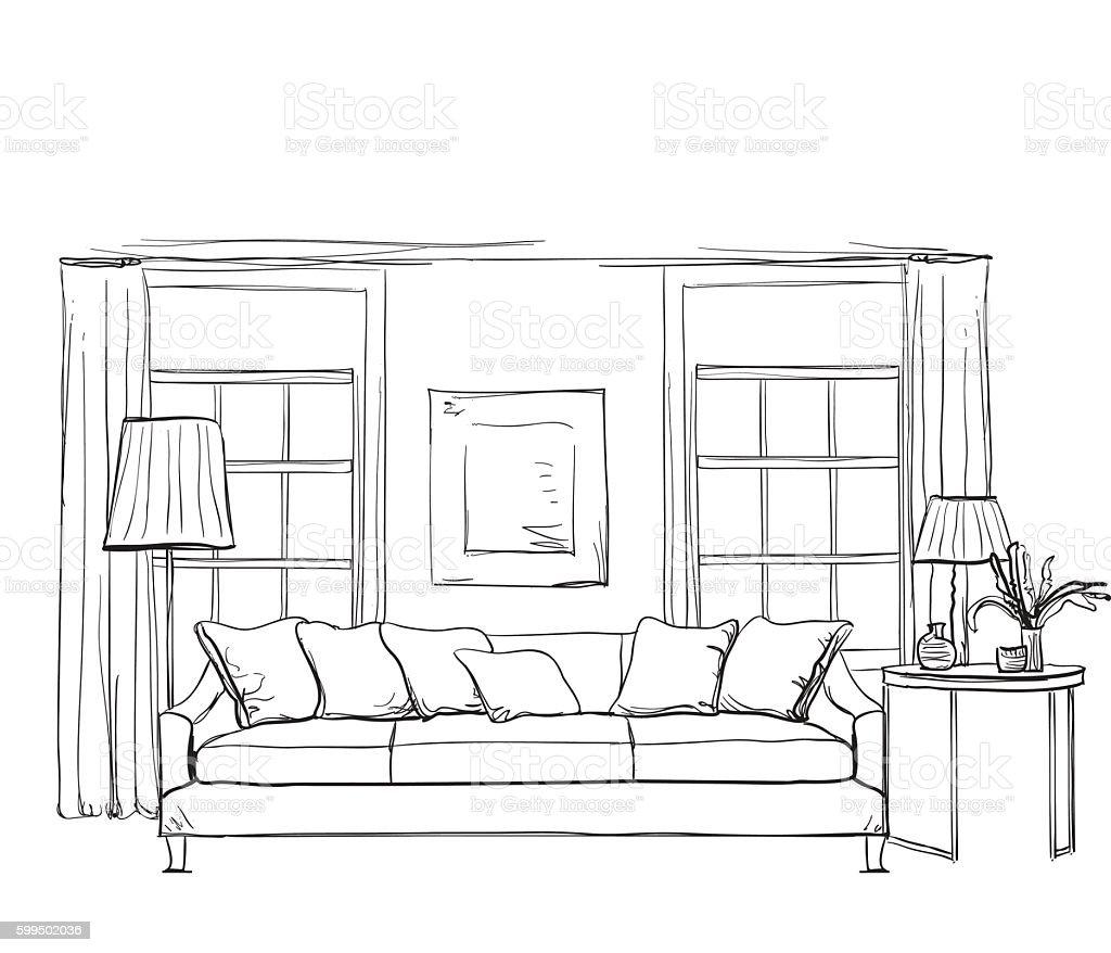 M 227 O Desenhada Sala De Desenho Interior Arte Vetorial De
