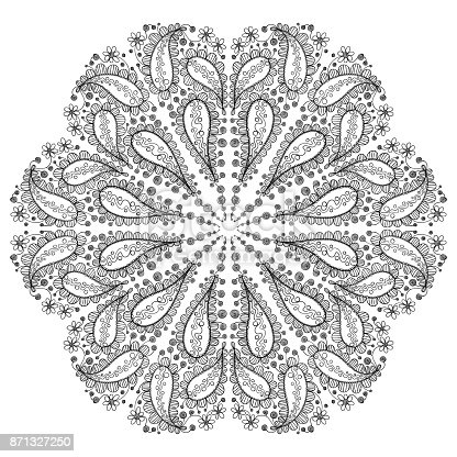 hand drawn round pattern with floral motif