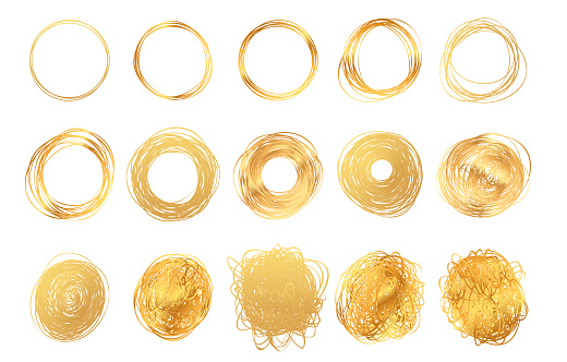 Hand drawn round golden pencil scribble frames. Set of edge torn gold box. Vector illustration hatch foil circles. Isolated on white background.