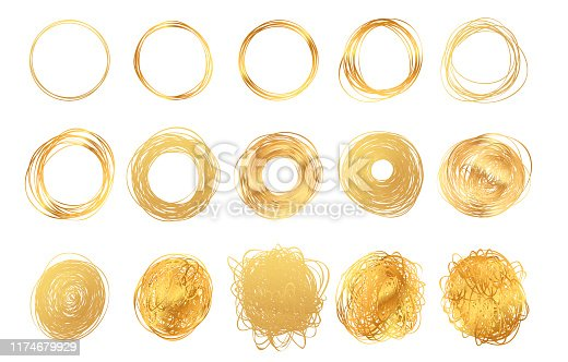 istock Hand drawn round golden pencil scribble frames. Set of edge torn gold box. Vector illustration hatch foil circles. Isolated on white background. 1174679929