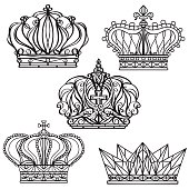 Hand drawn royalty crown set