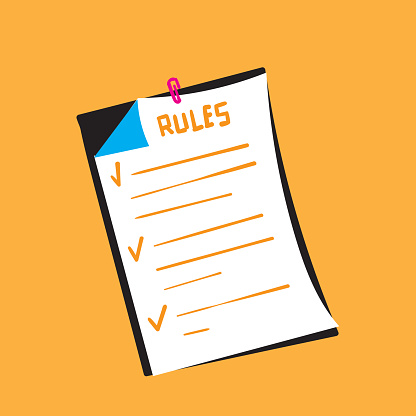 hand drawn Rules vector illustration. regulations checklist concept. Restricted graphic writing with law information. Society control guidelines and strategy for company. doodle
