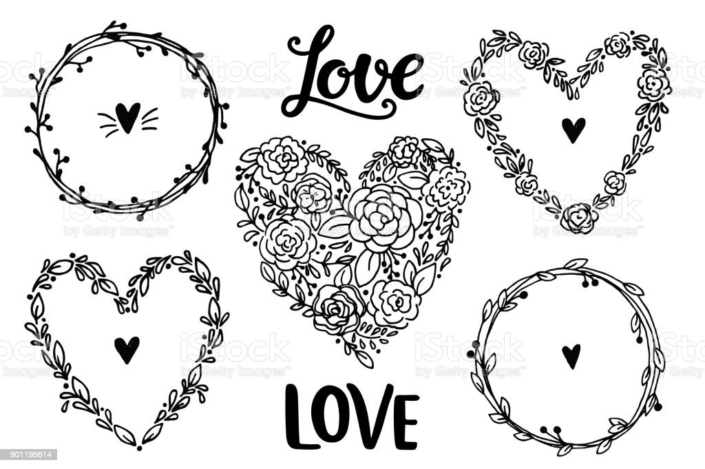 Hand Drawn Rustic Vintage Heart Wreaths Floral Vector Collection Royalty Free