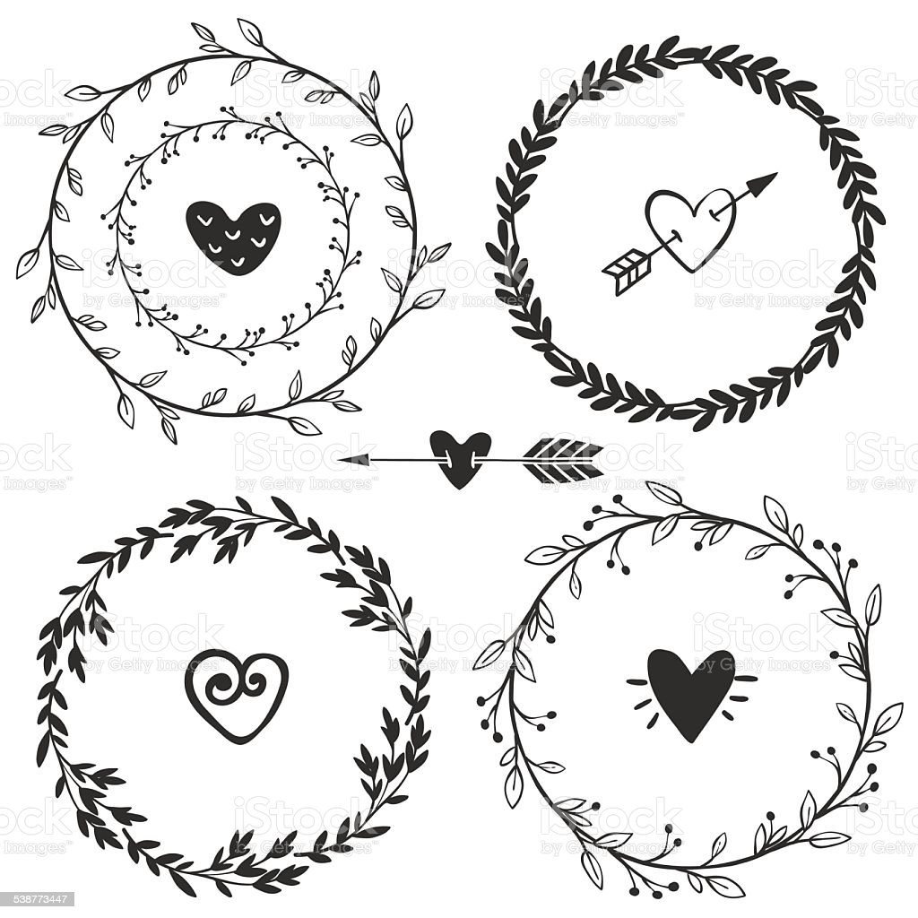 Hand Drawn Rustic Vintage Wreaths With Hearts Floral Vector Royalty Free