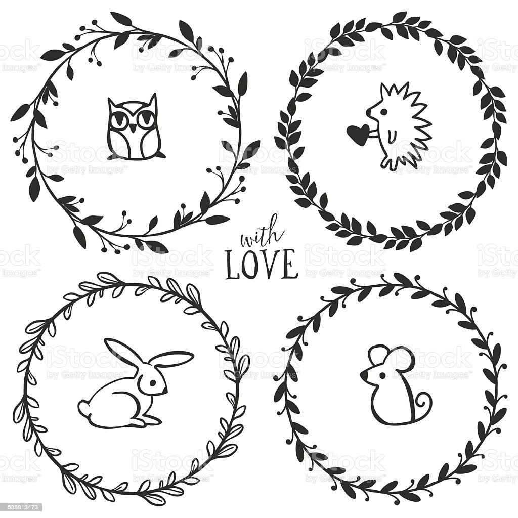 Hand Drawn Rustic Vintage Wreaths With Lettering And Animals Royalty Free