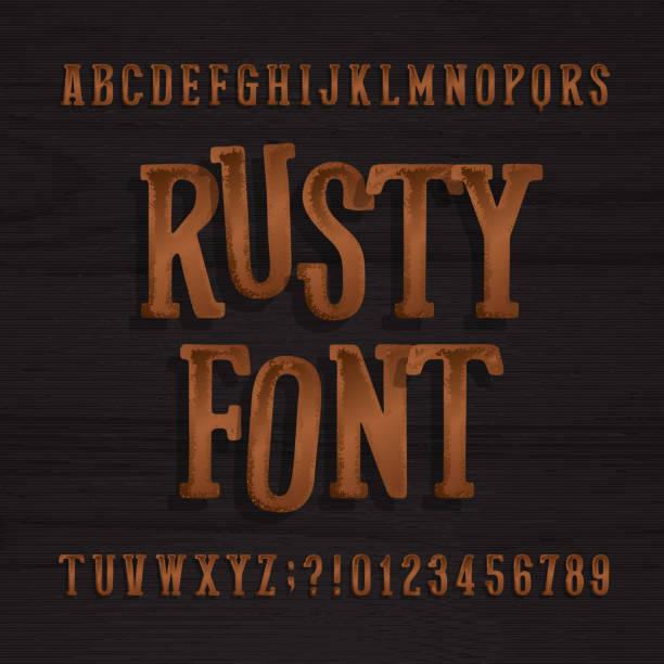 hand gezeichnet rostigen vintage schrift. retro-alphabet schriftart. - steampunk stock-grafiken, -clipart, -cartoons und -symbole