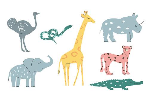 Hand drawn Safari African animals vector set. Collection including giraffe, elephant, rhino, emu, snake, crocodile, cheetah. Scandinavian colorful childish illustration.
