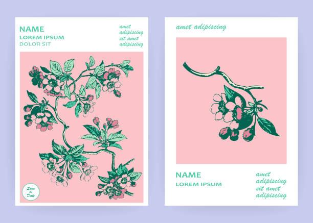 手描きの桜ピンクの花と白い背景の枝に葉、ヴィンテージスタイルのパステルカラーベクトルイラスト、植物画チェリー結婚式の招待状カード、テンプレートデザイン - ボタニカル点のイラスト素材/クリップアート素材/マンガ素材/アイコン素材