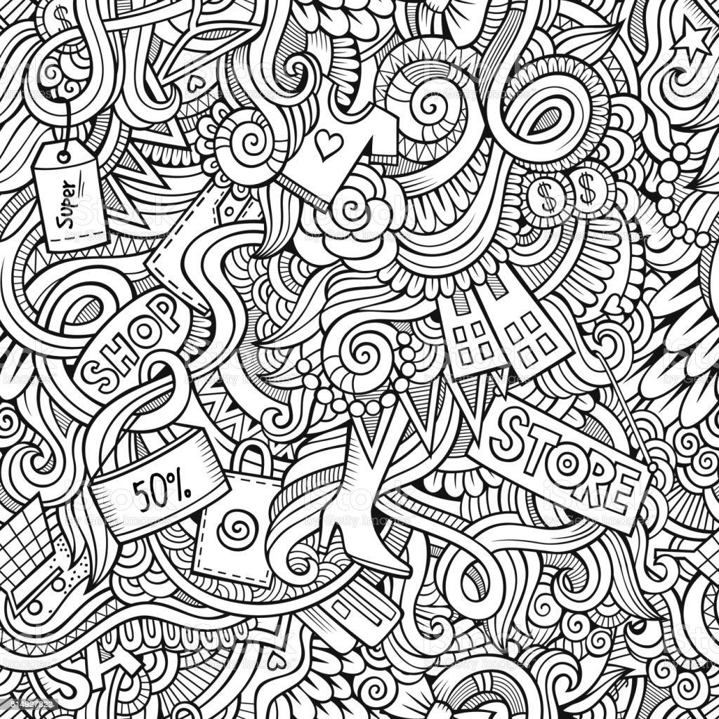 Ilustración de Dibujados A Mano Patrón Sin Costuras De Venta y más ...