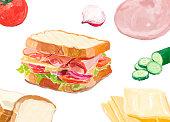 Hand drawn sandwich watercolor style