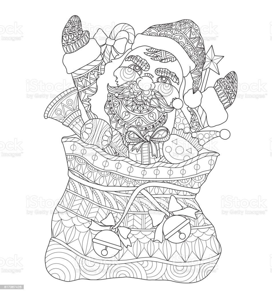Hand Drawn Santa Claus In The Santas Sack For Adult ...