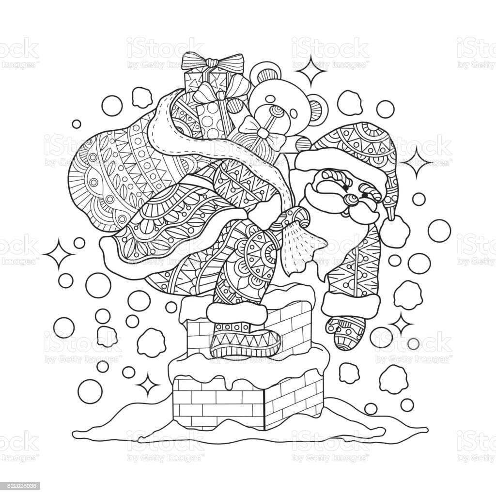 hand drawn santa claus on chimney for adult coloring page royalty free hand drawn