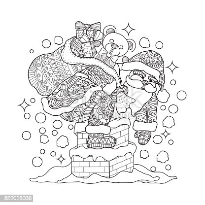Hand Drawn Santa Claus On Chimney For Adult Coloring Page