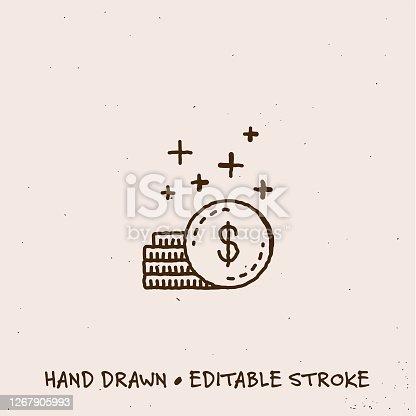 Sketchy Save Money Single Line Icon with Editable Stroke