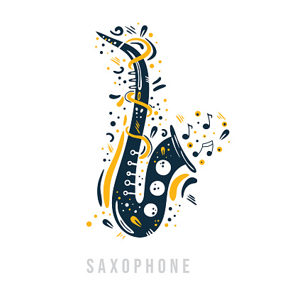 Hand drawn saxophone with notes, ribbons and dots around it.