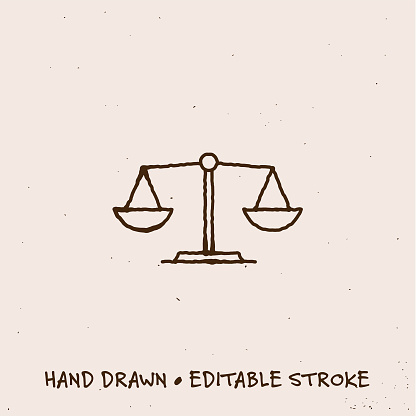Hand Drawn Scale Icon with Editable Stroke