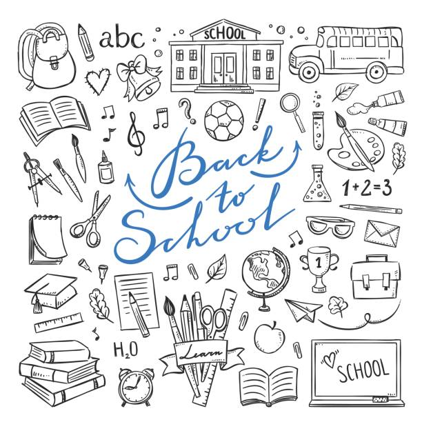hand drawn school icons and symbols. education school illustrations doodle clipart - book drawings stock illustrations