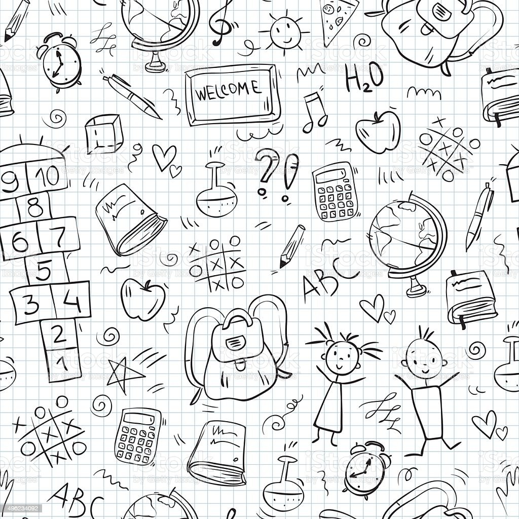 Escuela de iconos dibujados a mano patrón sin costuras - ilustración de arte vectorial
