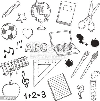 Set of hand drawn school icons.More works like this linked below.