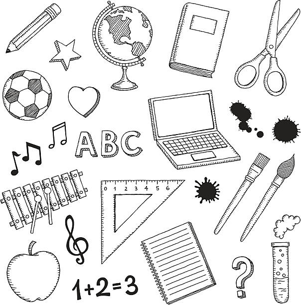 hand drawn school icons - book drawings stock illustrations