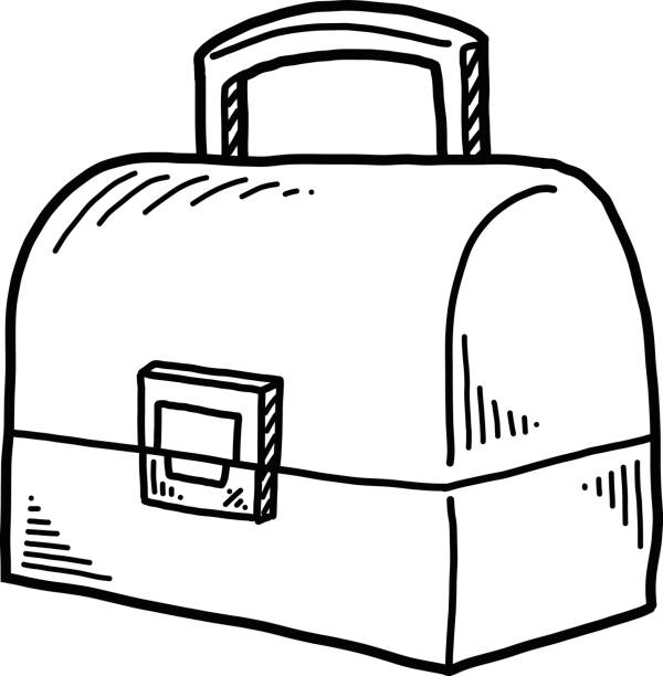 hand drawn school themed elements lunch box - lunch box stock illustrations, clip art, cartoons, & icons