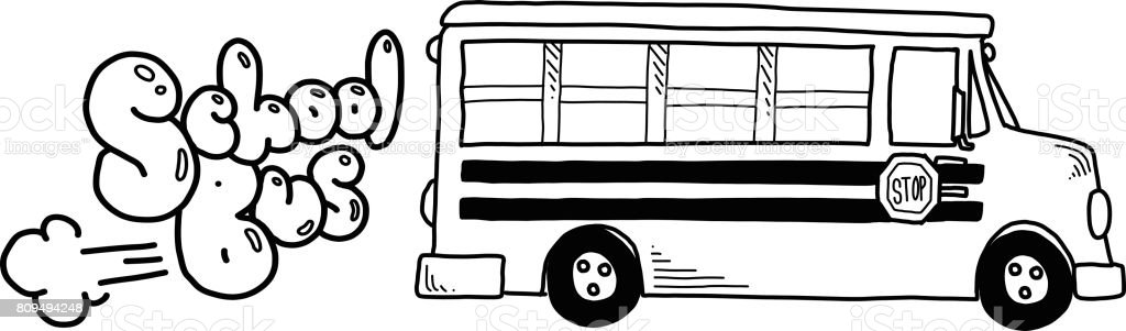 Vector illustration of hand drawn back to school elements in black...