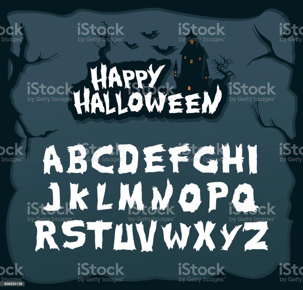 Fuente de escritura dibujada mano para halloween y temas misteriosos. - ilustración de arte vectorial
