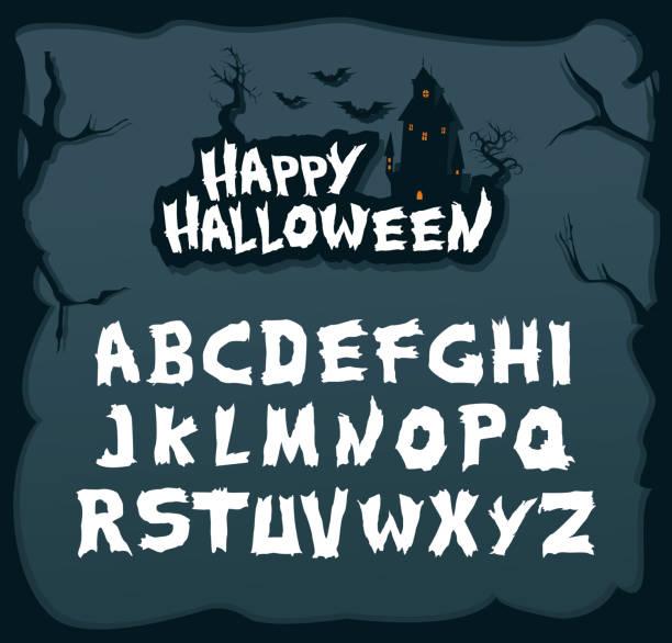 ilustraciones, imágenes clip art, dibujos animados e iconos de stock de fuente de escritura dibujada mano para halloween y temas misteriosos. - tipos de letra de historietas