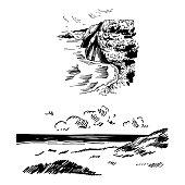 Hand drawn sea coast. Vector sketch illustration