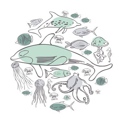 Hand drawn sea fish in a circle. Vector  illustration.
