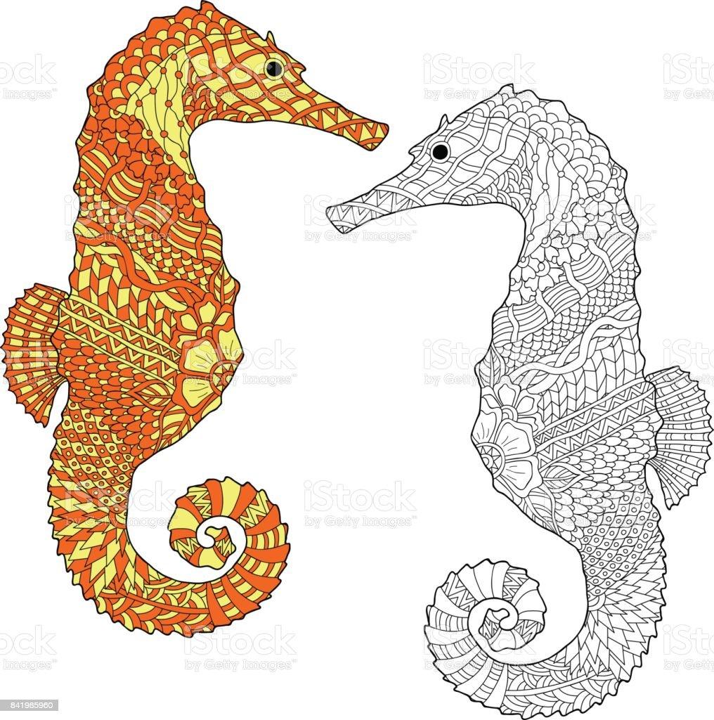 El Deniz Atı Vektör çizim çekilmiş Stok Vektör Sanatı At