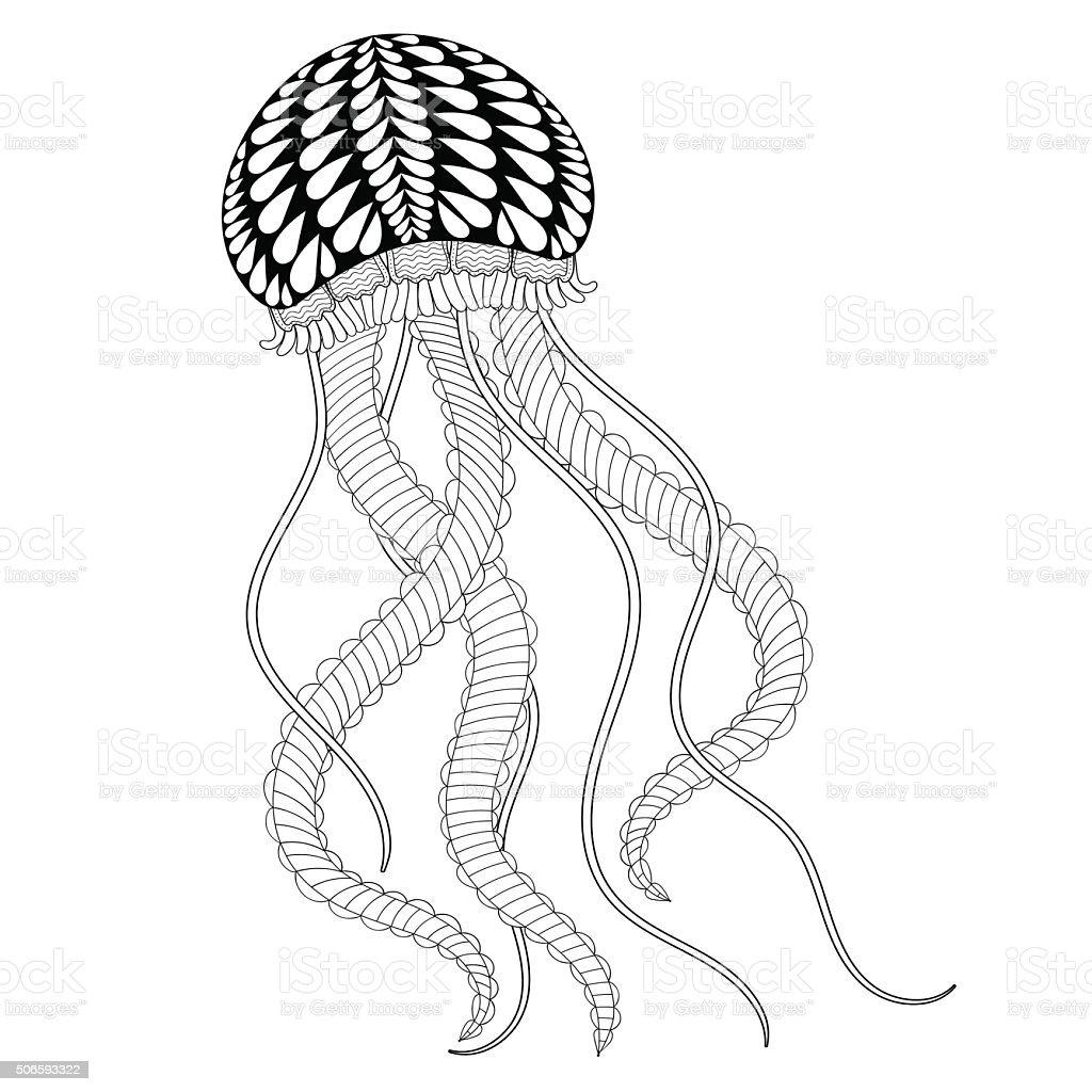 Mano Dibujado Medusas De Mar Para Colorear Páginas Adultos - Arte ...