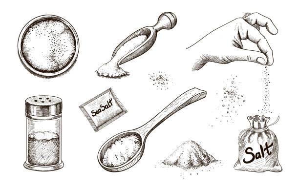 Hand drawn sea salt. Salting crystals Collection of hand drawn sea salt. Salting crystals. Glass bottles and salt shaker and packaging sketch vector set. salt stock illustrations