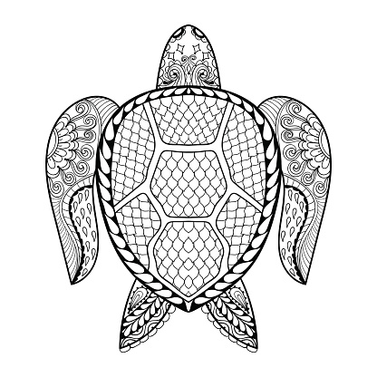Hand Drawn Sea Turtle For Adult Coloring Pages Stock ...