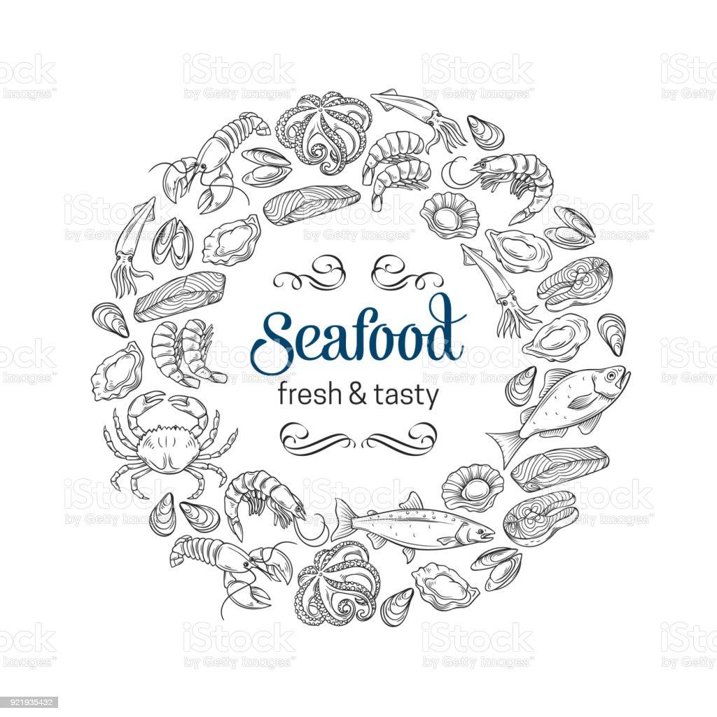 hand drawn seafood design vector art illustration