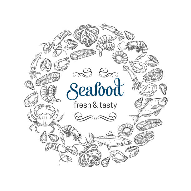 hand drawn seafood design Vector round frame template hand drawn seafood design with mussel, fish salmon, shrimp. Lobster, squid, octopus, scallop or lobster, craps, mollusk, oyster, alfonsino and tuna for product market seafood stock illustrations