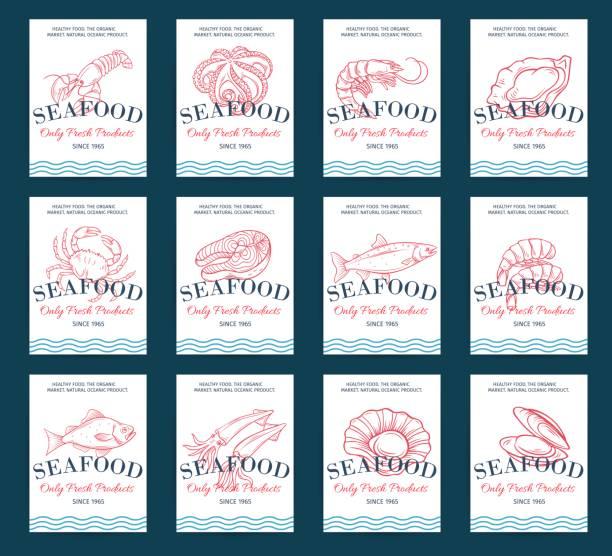 ilustraciones, imágenes clip art, dibujos animados e iconos de stock de conjunto de cartel dibujado a mano mariscos productos - pescado y mariscos