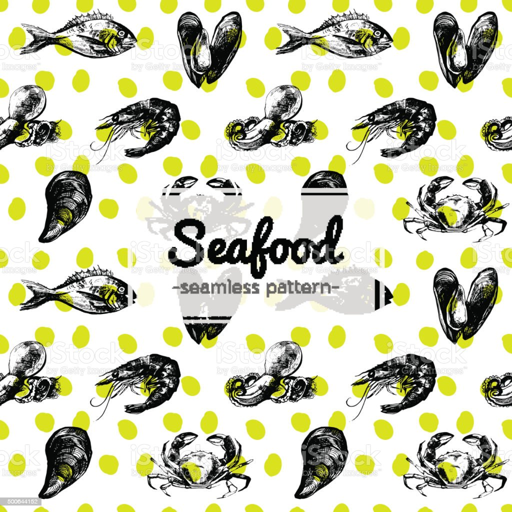 Hand Drawn Seafood Seamless Pattern vector art illustration