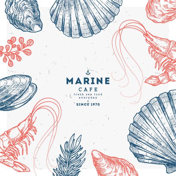 Hand drawn seafood template. Vintage sketch style menu. Vector illustration vector art illustration