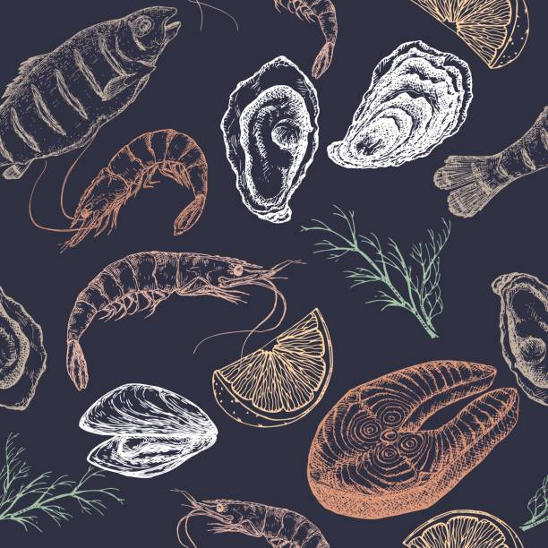 Hand drawn seafood vector seamless pattern on blue vector art illustration