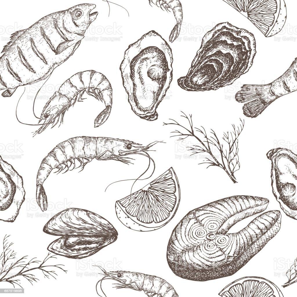 Hand drawn seafood vector seamless pattern vector art illustration