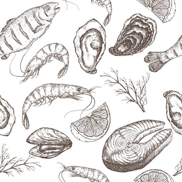 Hand drawn seafood vector seamless pattern vector art illustration