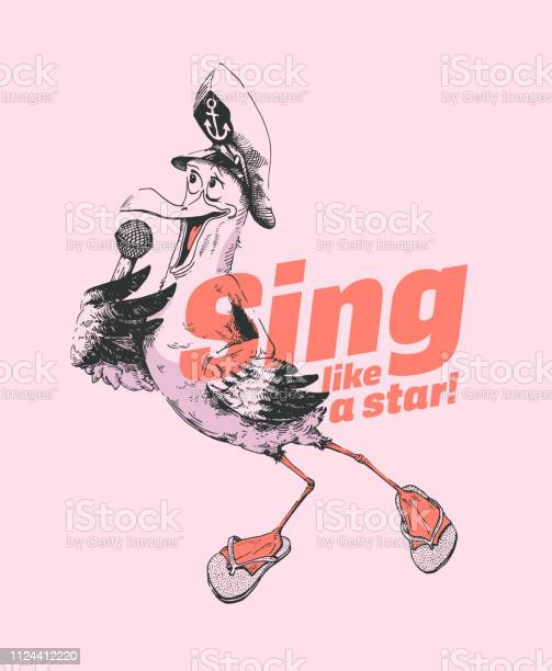 Hand drawn seagull singing in a microphone and wearing captain hat vector id1124412220?b=1&k=6&m=1124412220&s=612x612&h=jvuposlx4zkhduwb8x0ppzofzx3zntincxgc7aa70kq=