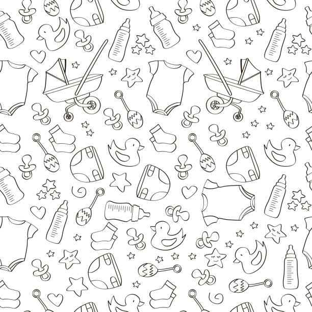 Hand drawn seamless baby icon pattern background Hand drawn seamless baby icon pattern background. Cute drawing outline many objects of baby tools. human body part stock illustrations