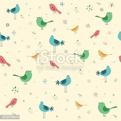 istock Hand drawn seamless birds pattern 675223974